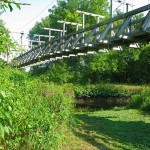 Fantastic suspended footbridge on the Appalachian Trail