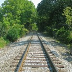 The Appalachian Trail crosses many railroad tracks.