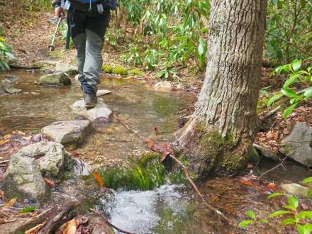 Stepping stones and crossing streams on the Appalachian Trail